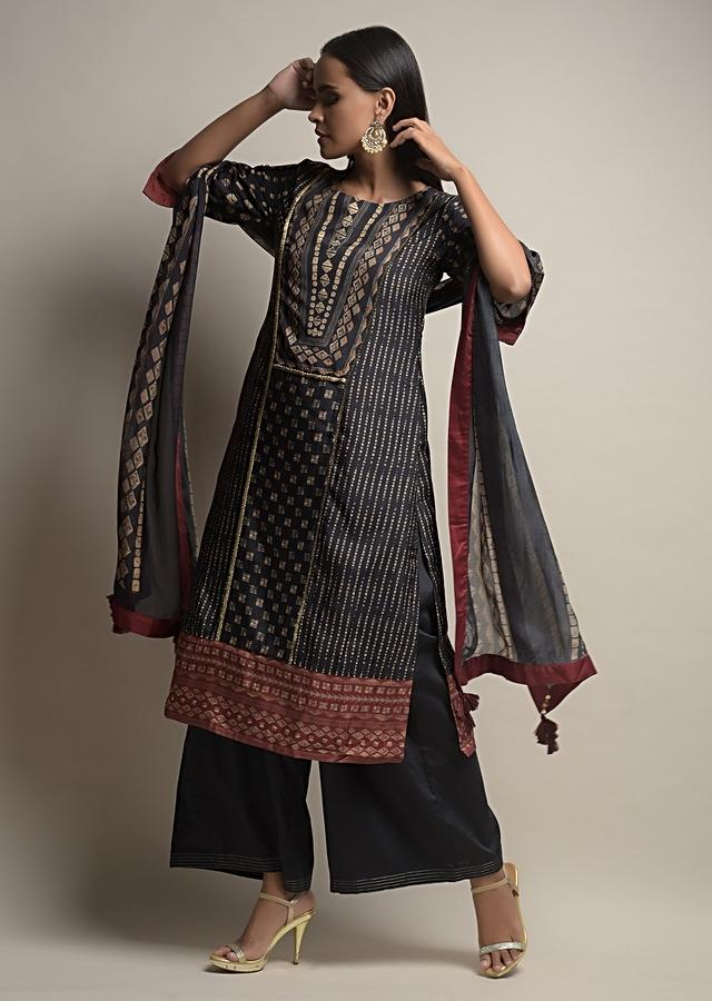Black Palazzo Suit In Silk Blend With Tie Dye Print And Golden Sequin Accents Online - Kalki Fashion