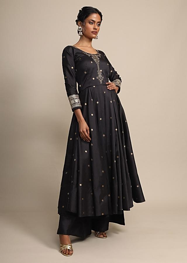 Black Palazzo Suit With Weaved Buttis And Brocade Dupatta With Colorful Weave Online - Kalki Fashion