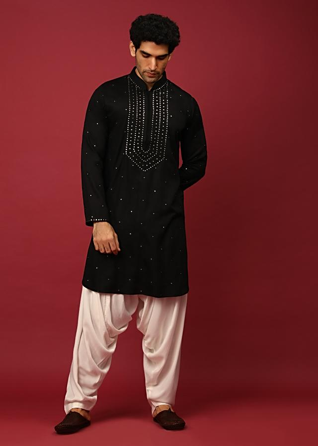 Black Pathani Suit In Cotton With Mirror And Thread Embroidered Buttis And Heavy Placket Design Online - Kalki Fashion