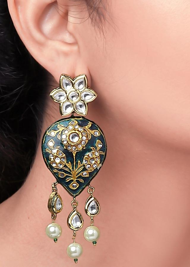 Black Polki Earrings With Meenakari And Dangling Droplets Of Shell Pearls Online - Joules By Radhika