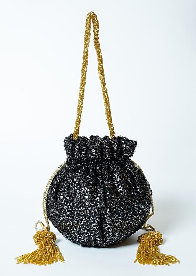 Black Potli Bag In Sequins Fabric With Cut Dana Tassels And Handle By Solasta