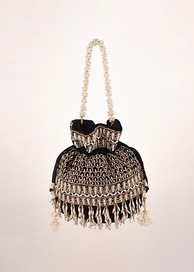 Black Potli In Velvet Heavily Embroidered With Beads And Moti Work In Scalloped And Tassel Design By Shubham