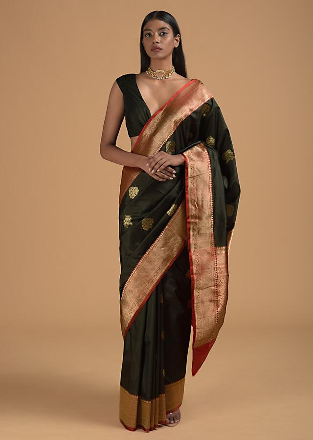 Black Pure Handloom Saree In Silk With Woven Buttis And Red Border Online - Kalki Fashion