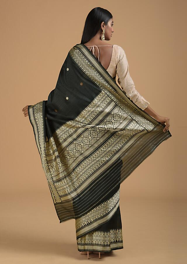 Black Pure Handloom Saree In Silk With Woven Floral Buttis And Floral Border Online - Kalki Fashion
