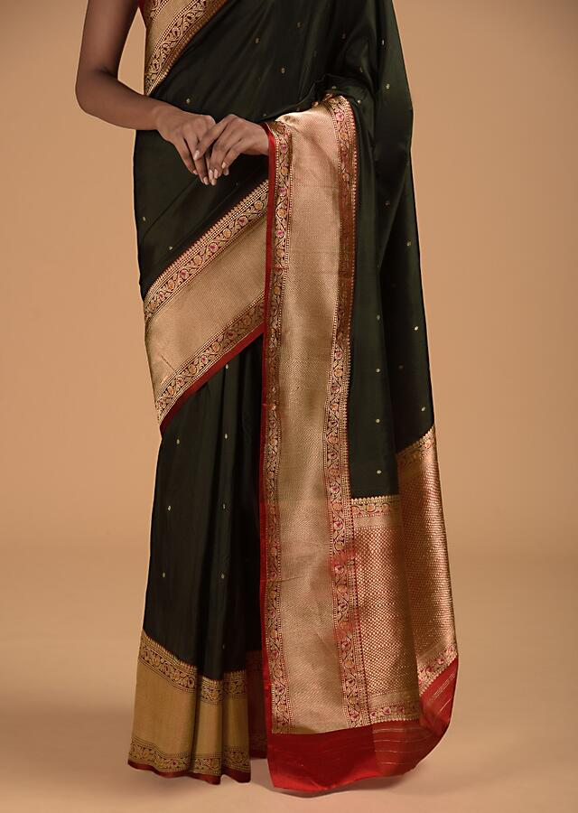 Black Pure Handloom Saree In Silk With Woven Flower Buttis And Red Border Online - Kalki Fashion