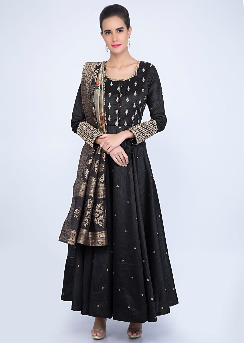 d45f4e23eaf3 Black raw silk anarkali dress with shaded weaved in digital print only on  kalkiMore Detail