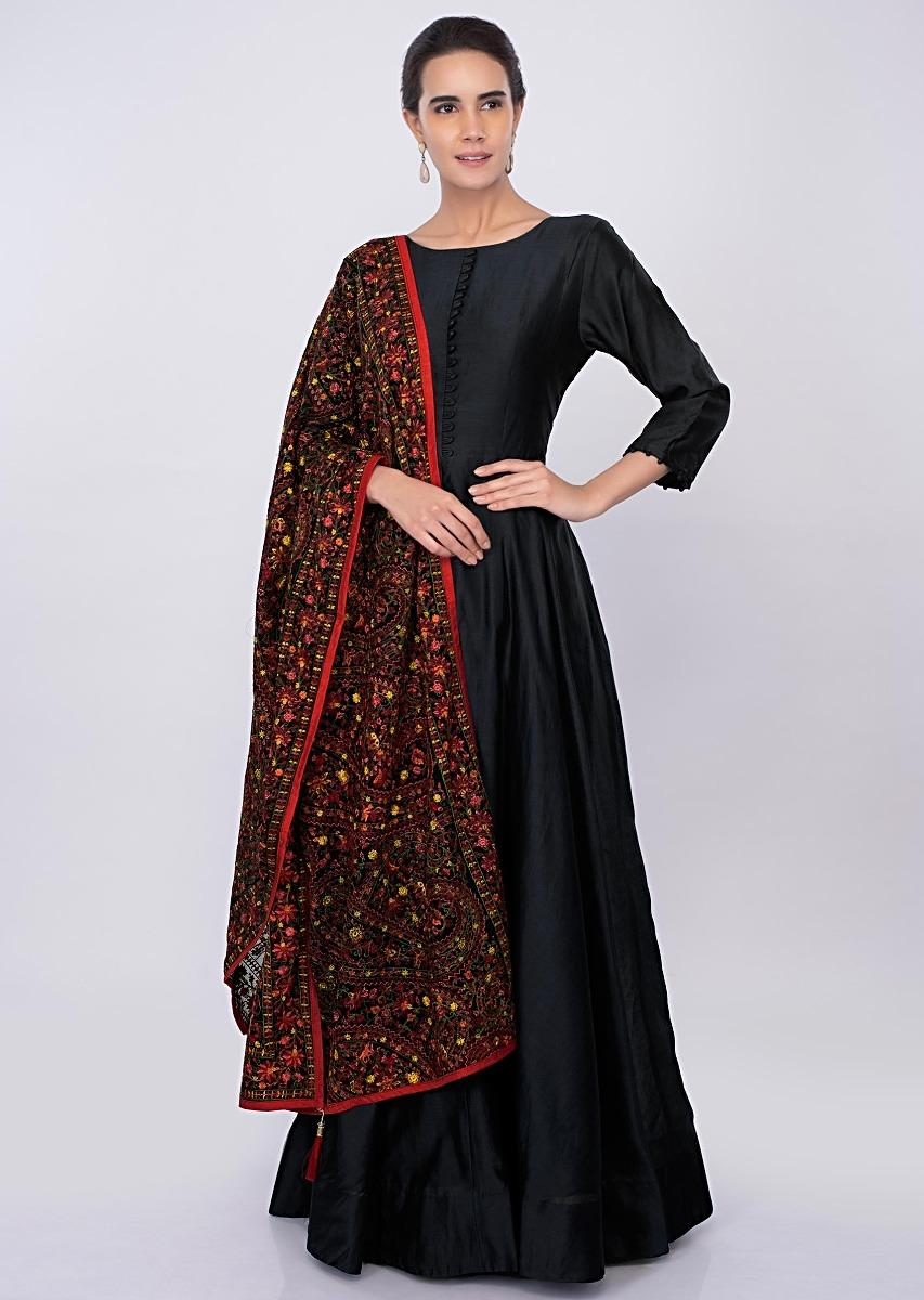 429b0b2424e4 Black raw silk anarkali with multi color jaal embroidered georgette dupatta  only on kalki