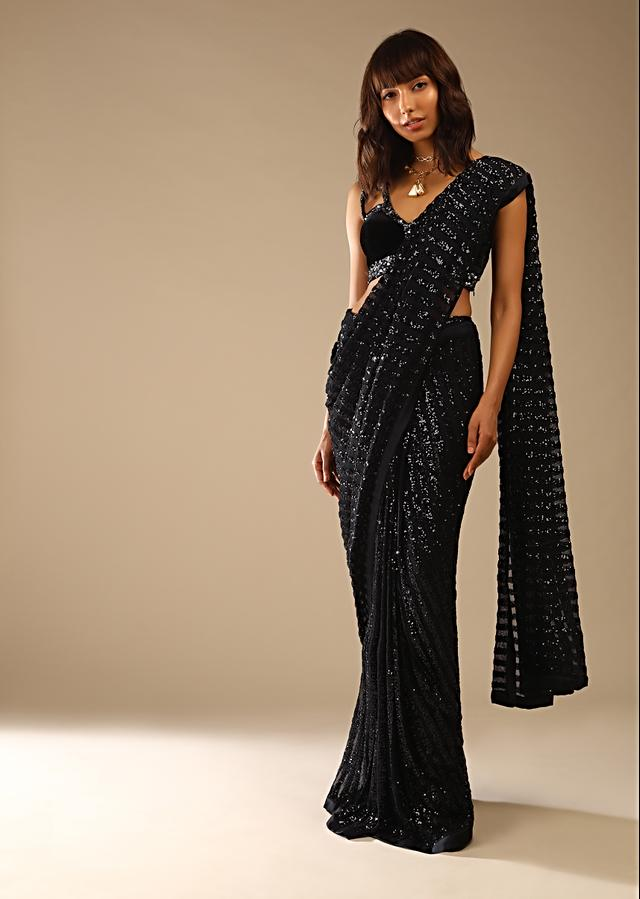 Black Ready Pleated Saree In Striped Sequins Fabric And Sleeveless Velvet Blouse With Cut Out Detailing Online - Kalki Fashion