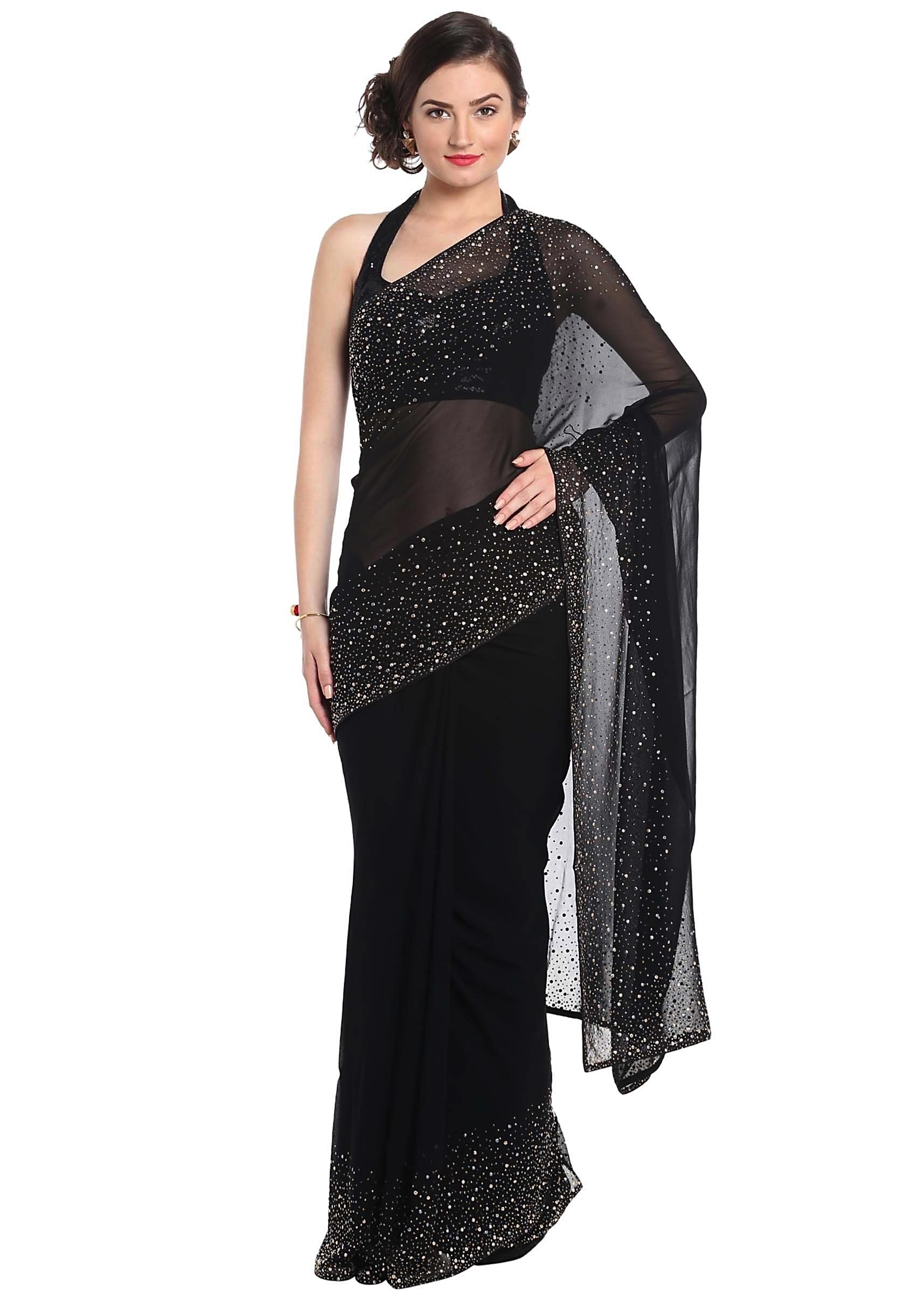 b1c048960dd3b Black saree adorn in gold and silver kundan embroidery only on KalkiMore  Detail