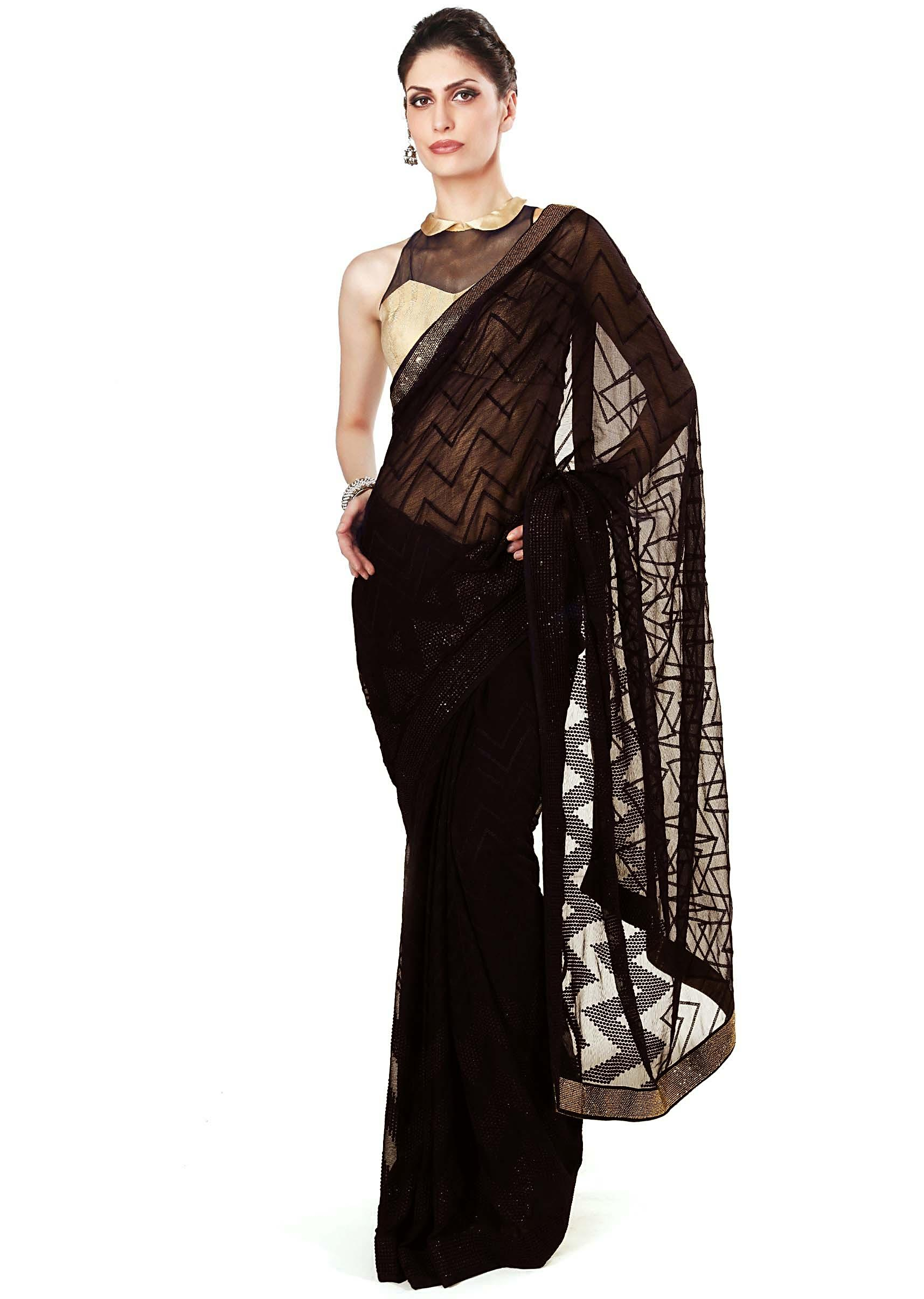 893d1fbd23dfd Black saree adorn in resham embroidery only on KalkiMore Detail