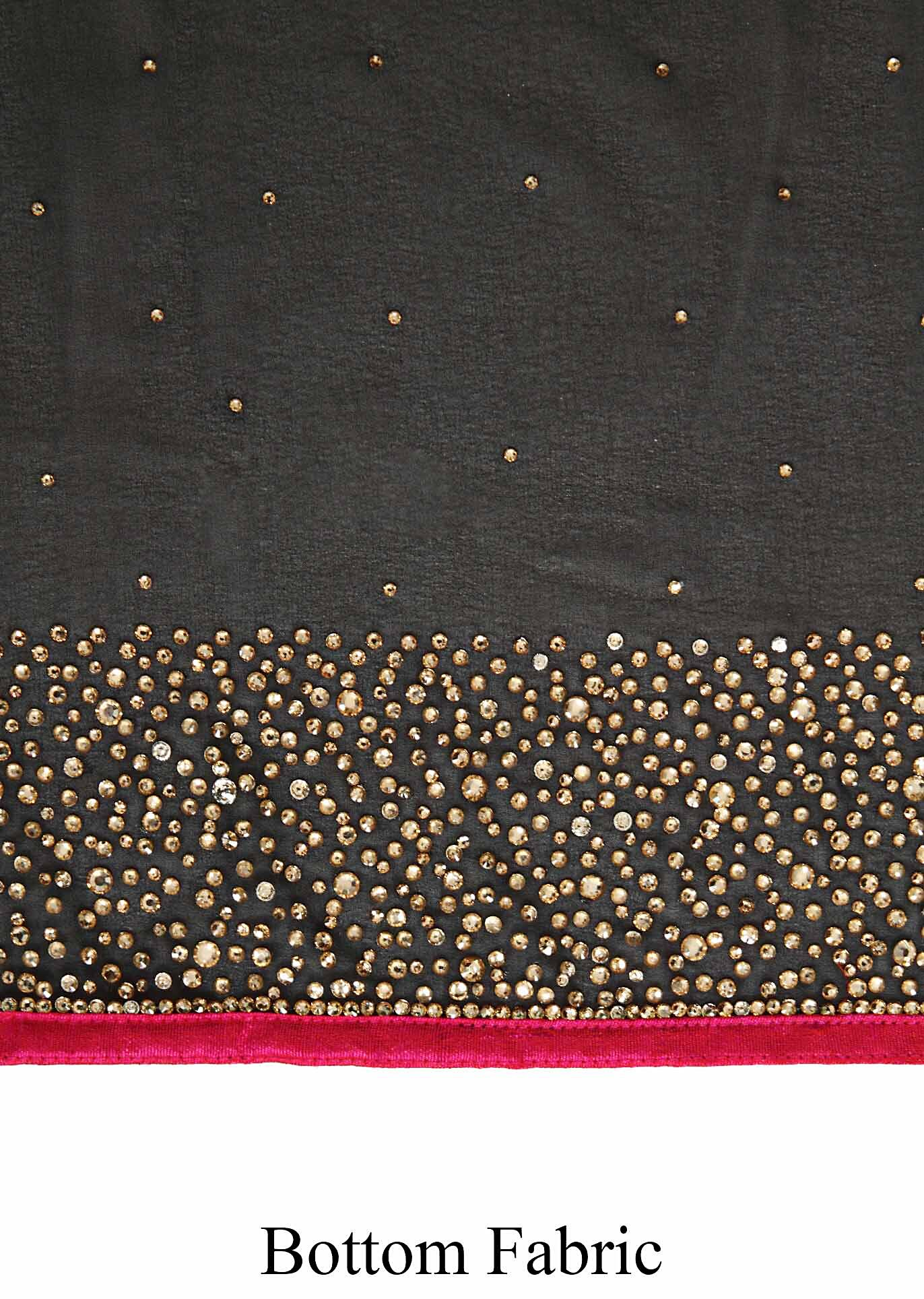 253c21314f Haute black saree embellished in kundan embroidery only on Kalki