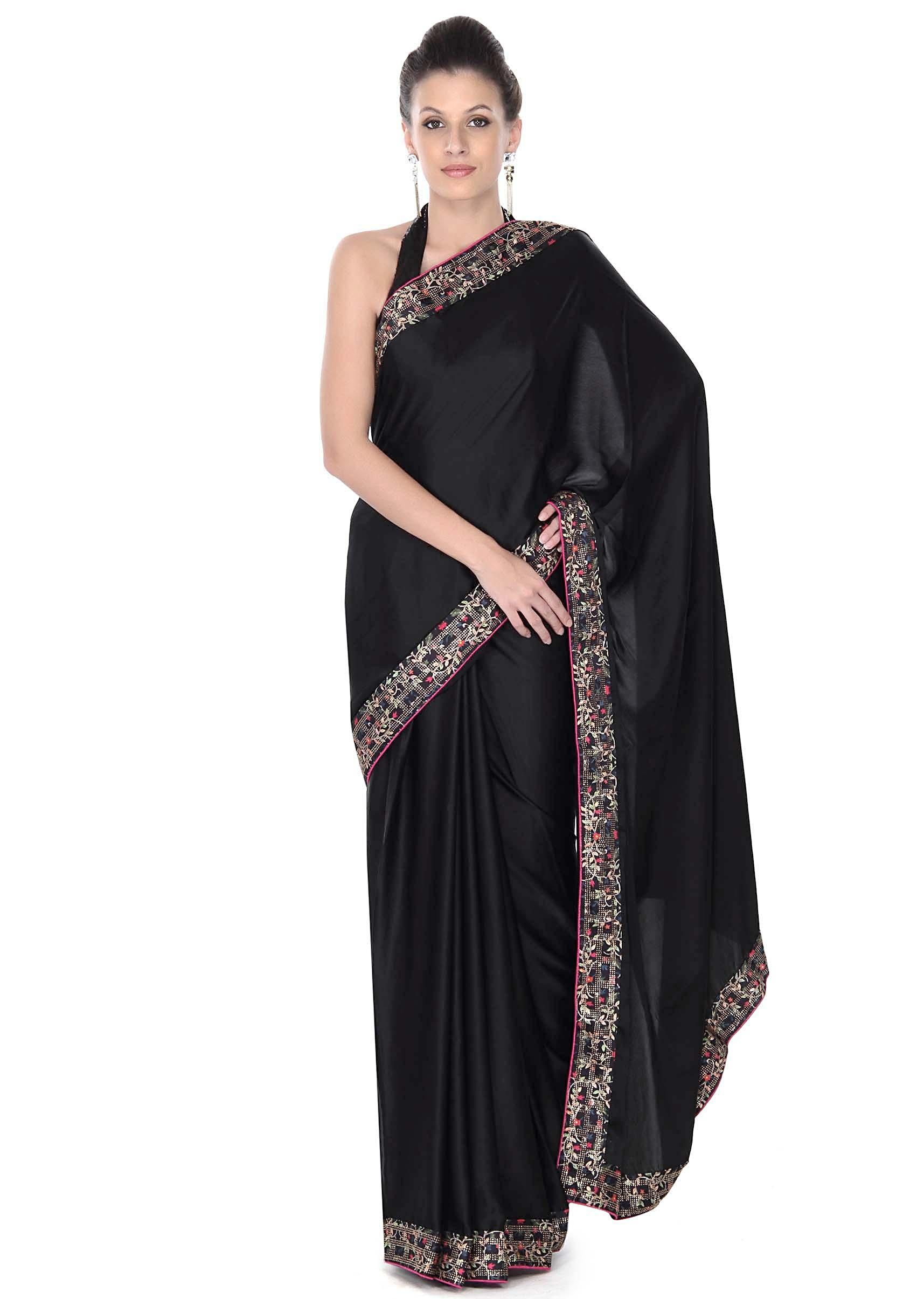 2b46dcee72 Black saree features in digital printed border only on KalkiMore Detail