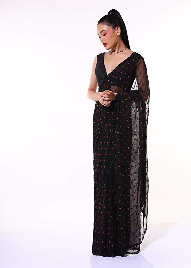 Black Saree In Chiffon Blend With Resham Embroidered Floral Buttis And Unstitched Blouse Online - Kalki Fashion