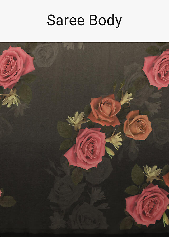 Black Saree In Crepe Georgette With Printed Rose Motifs And Unstitched Blouse Online - Kalki Fashion