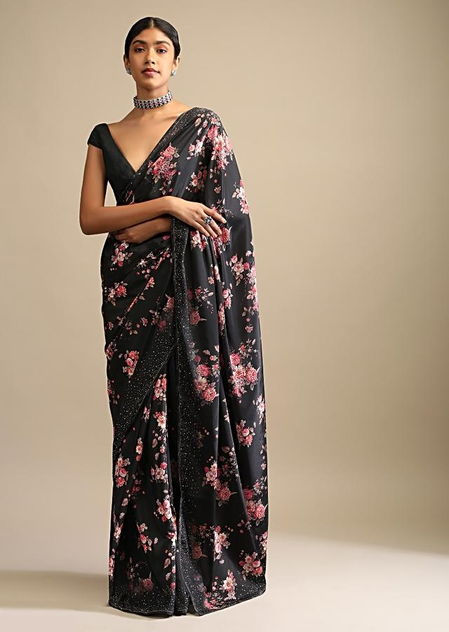 Black Saree In Crepe With Floral Print All Over And Multi Colored Kundan Accents Along The Border Online - Kalki Fashion