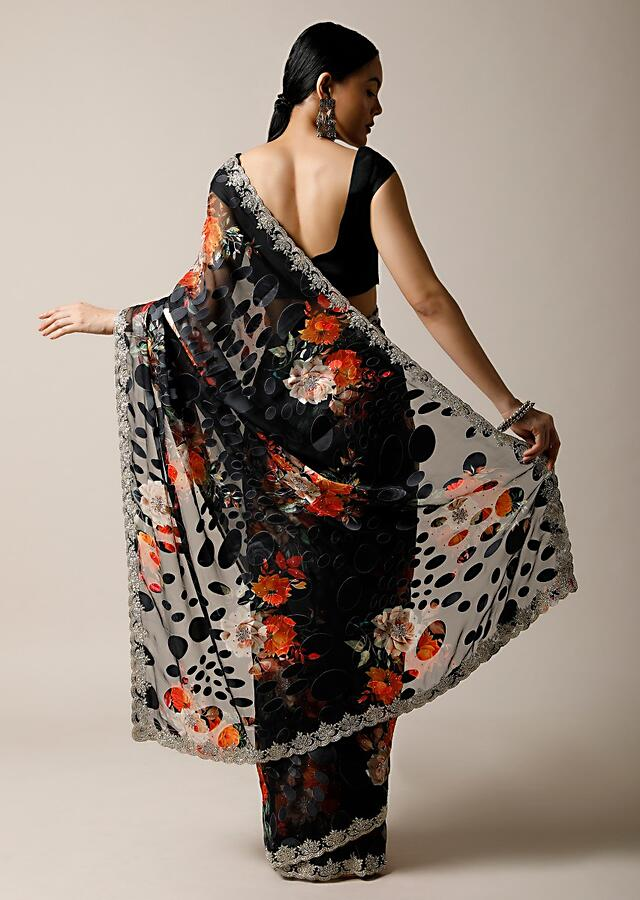 Black Saree In Georgette With Floral Print And Stone Embellished Border Along With Unstitched Blouse Online - Kalki Fashion