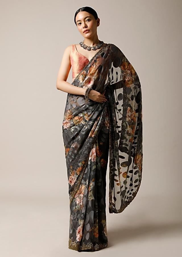 Stone Grey Saree In Georgette With Floral Print And Stone Embellished Border Along With Unstitched Blouse Online - Kalki Fashion
