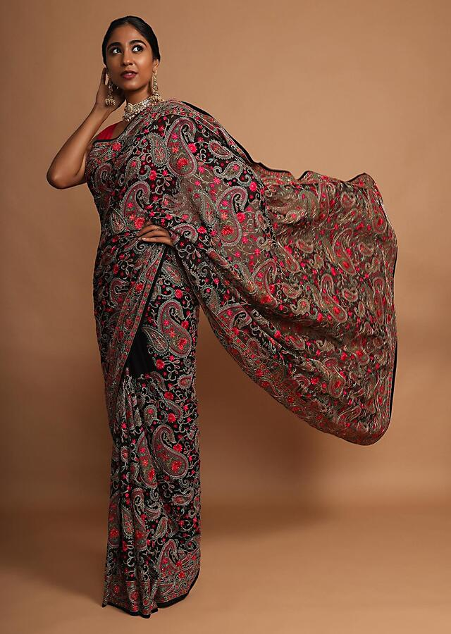 Black Saree In Georgette With Kashmiri Embroidery In Paisley And Floral Jaal Online - Kalki Fashion
