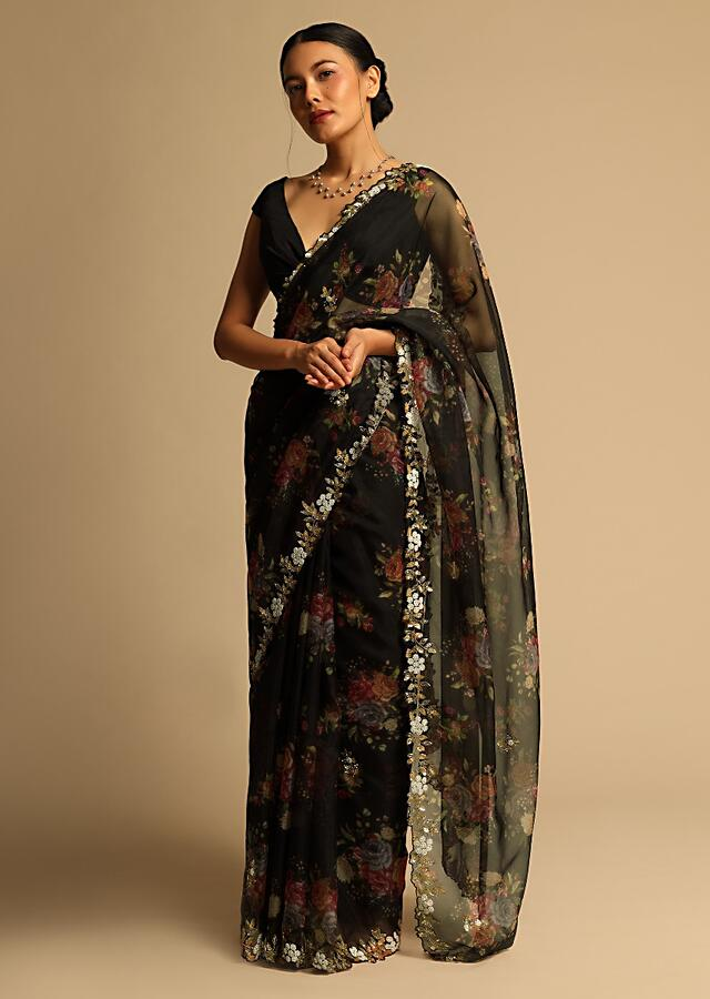 Black Saree In Organza With Floral Print All Over And Moti Embroidered Border Along With Unstitched Blouse Online - Kalki Fashion