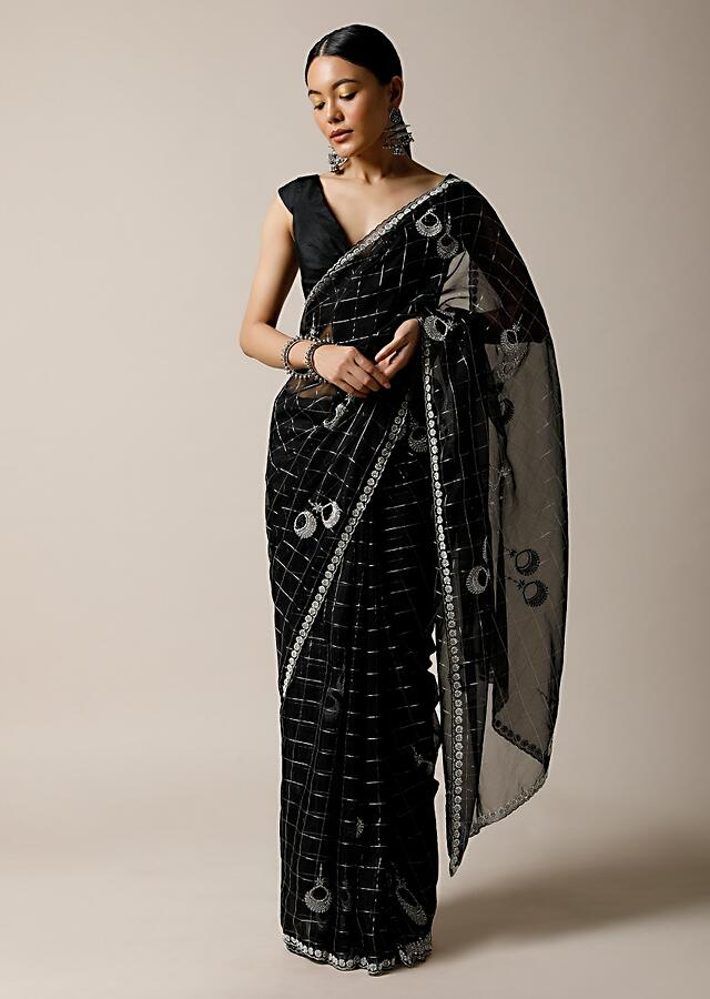 Black Saree In Organza With Woven Checks And Stone Embellished Buttis Along With Unstitched Blouse Online - Kalki Fashion