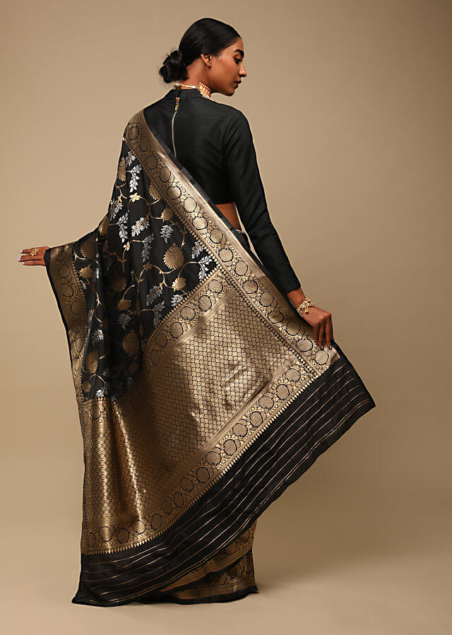 Black Saree In Pure Handloom Silk With Two Toned Woven Floral Jaal, Geometric Motifs On The Pallu And Unstitched Blouse Online - Kalki Fashion