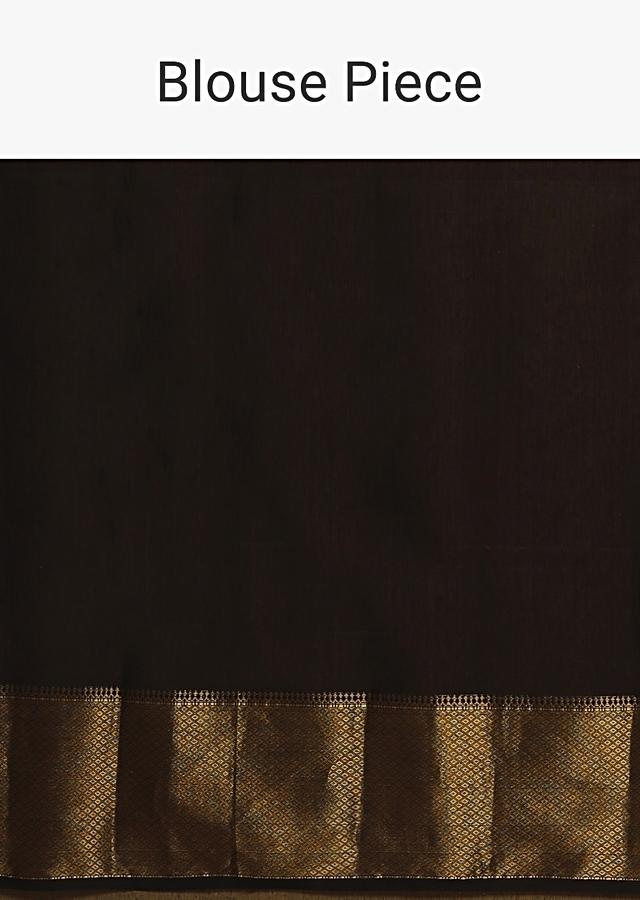 Black Saree In Cotton Silk With Woven Buttis And Broad Border Along With Unstitched Blouse Online - Kalki Fashion