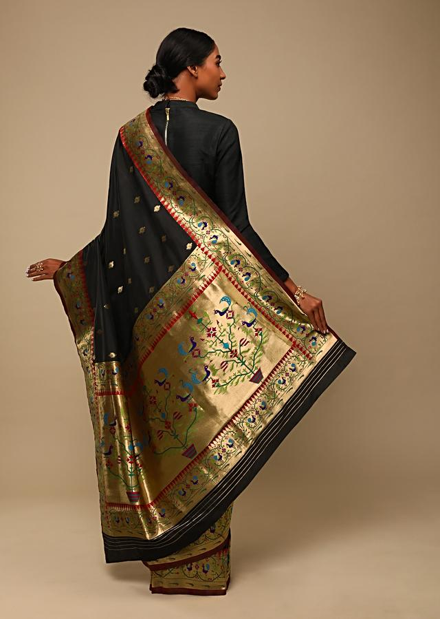 Black Saree In Pure Handloom Silk With Woven Geometric Buttis, Peacock Motifs On The Border And Unstitched Blouse Online - Kalki Fashion