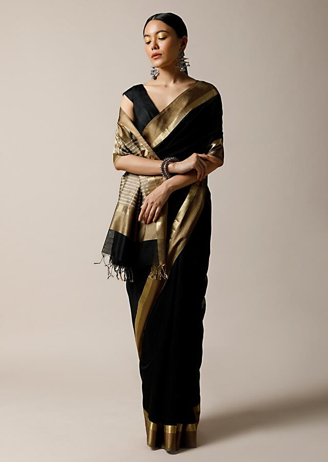Black Saree In Cotton Silk With Woven Golden Border And Contrasting Unstitched Blouse Online - Kalki Fashion