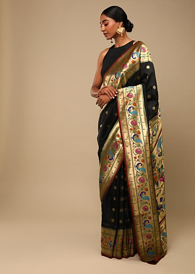 Black Saree In Pure Handloom Silk With Woven Multi Colored Peacock Motifs On The Border, Floral Buttis And Unstitched Blouse Online - Kalki Fashion