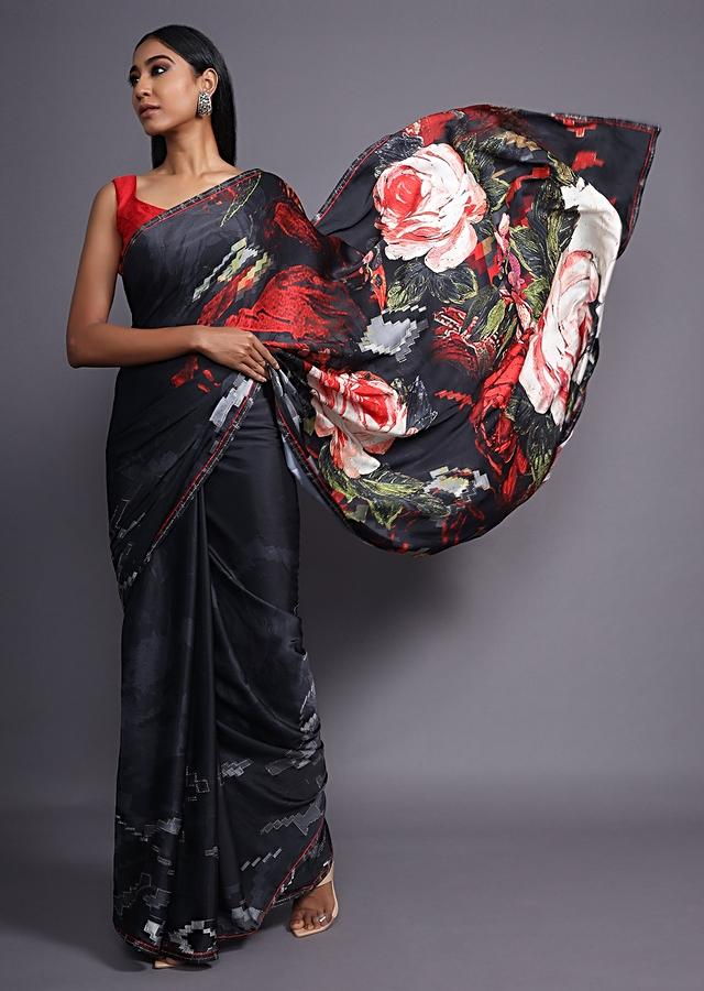 Black Saree In Satin Blend With Floral Print And Scattered Kundan Work Online - Kalki Fashion