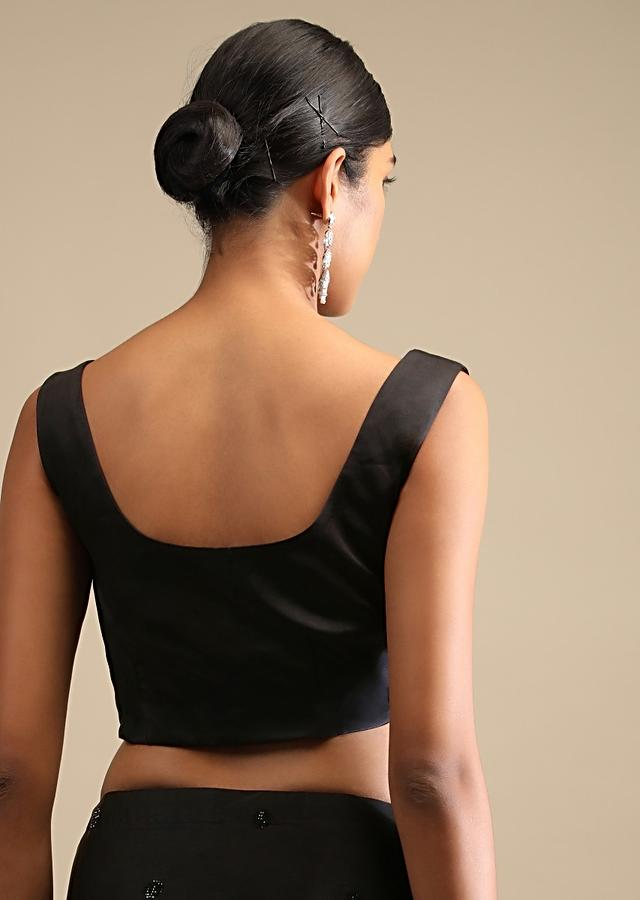 Black Saree In Satin Embellished With Multi Colored Kundan Work On The Border And Butti Work Online - Kalki Fashion