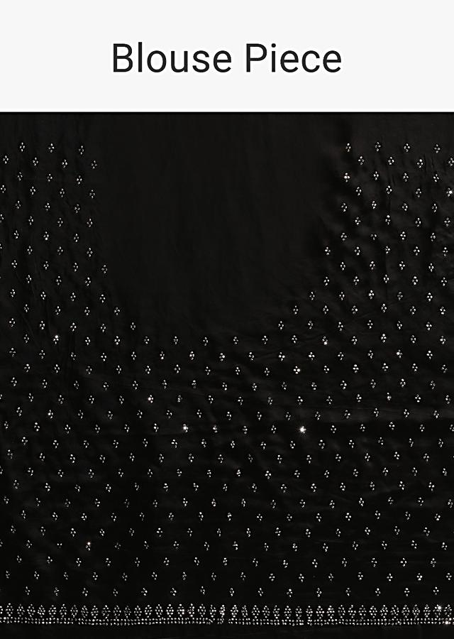 Black Saree In Satin With A Heavy Embellished Pallu Using Scattered Sequins And Unstitched Blouse Online - Kalki Fashion