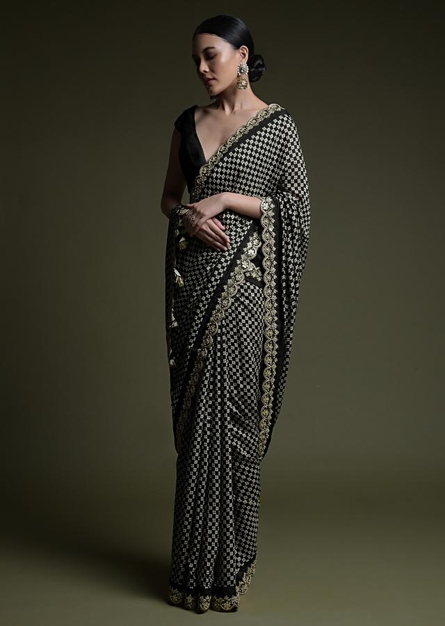 Black Saree In Soft Silk With Printed Floral Buttis, Scalloped Gotta Patti Border And Unstitched Blouse Online - Kalki Fashion