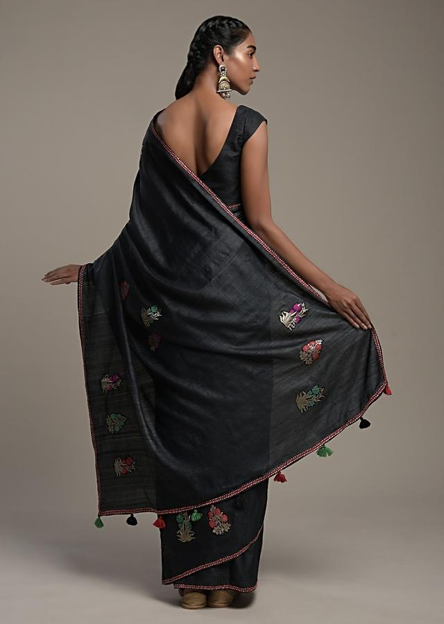 Black Saree In Tussar Silk With Colorful Brocade Patchwork In Floral Motifs And Unstitched Blouse Online - Kalki Fashion