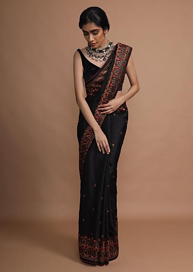 Black Saree With Colorful Resham Embroidered Floral Design On The Border And Butti Work Online - Kalki Fashion