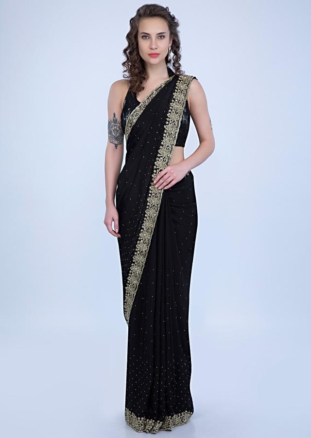 Black Satin Saree In Chiffon With Heavy Floral Embroidered Border Online - Kalki Fashion