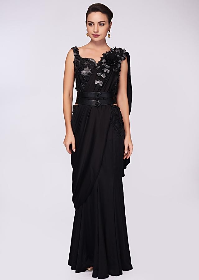 Black satin saree gown with fancy fabric bodice and draped pallo only on Kalki