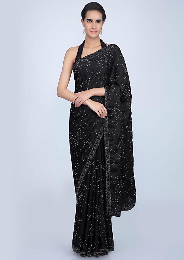 Black Saree In Satin With Embroidered Lower Bottom And Pallu Online - Kalki Fashion