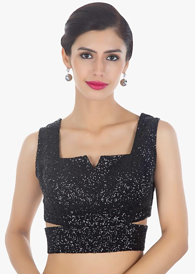 Black Sequins Blouse Designed With Side Cut Outs Online - Kalki Fashion