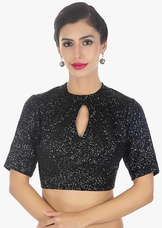 Black sequins blouse with front in key hole only on Kalki