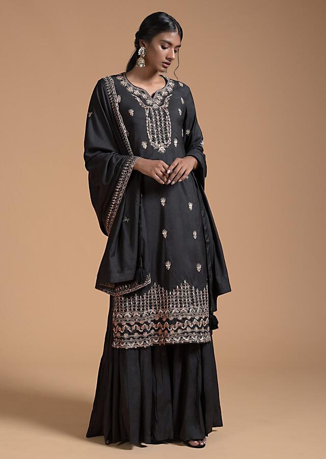 Black Sharara Suit In Cotton With Gotta Patti Embroidered Buttis And Elaborate Border Online - Kalki Fashion