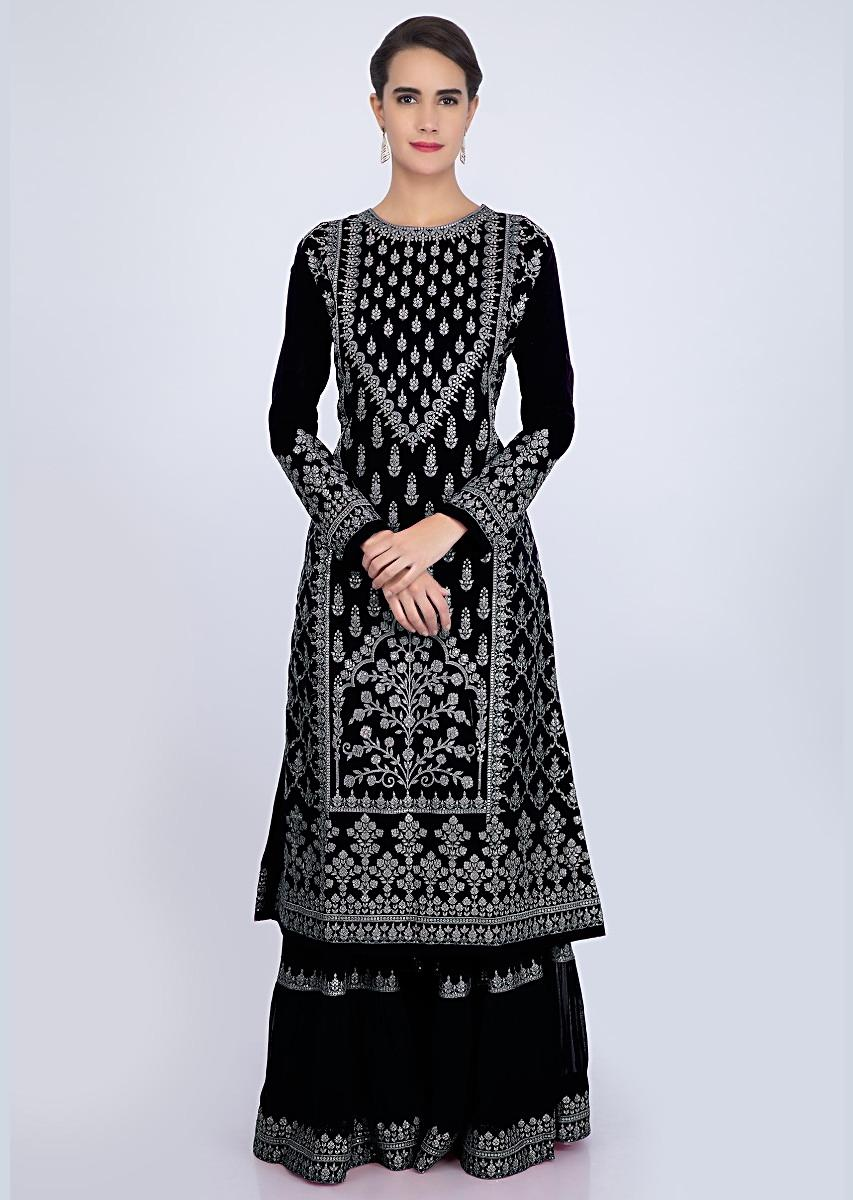 25322b2a30fcc Charcoal Black sharara suit set with embroidery and butti only on Kalki