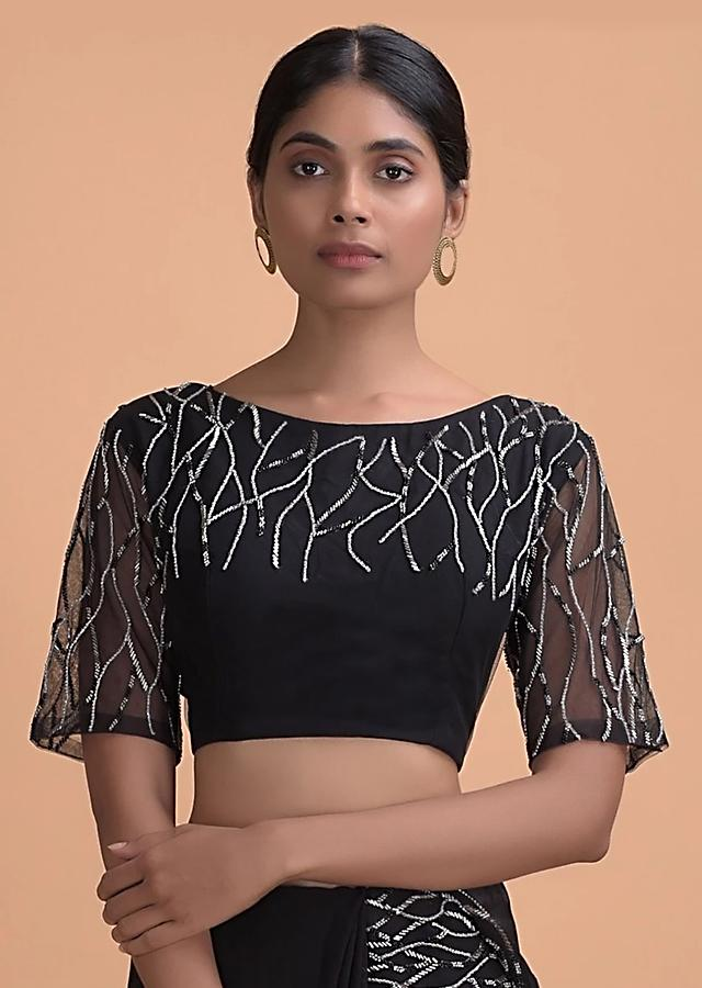 Black Silk Blouse With Cut Dana And Stone Embroidery In Abstract Motifs Online - Kalki Fashion