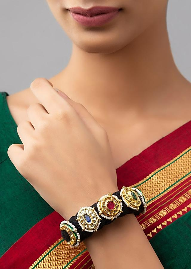 Black Silk Thread Bracelet With Gold Plated Kundan Highlights Accented With Beads And Stones Online - Joules By Radhika