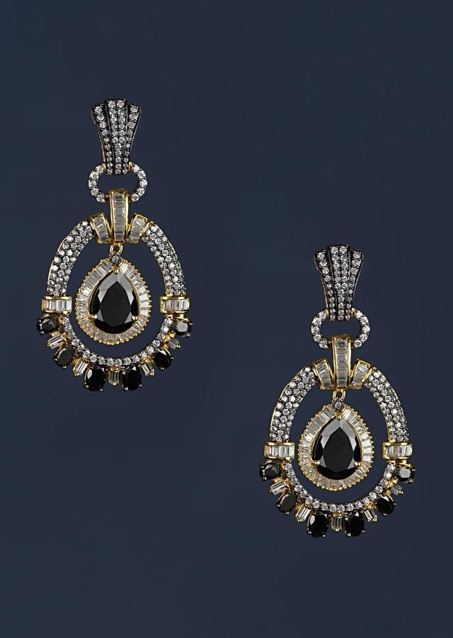 Black Stone Studded Earrings In Oval Motif With Stones And Bugle Beads Online - Kalki Fashion