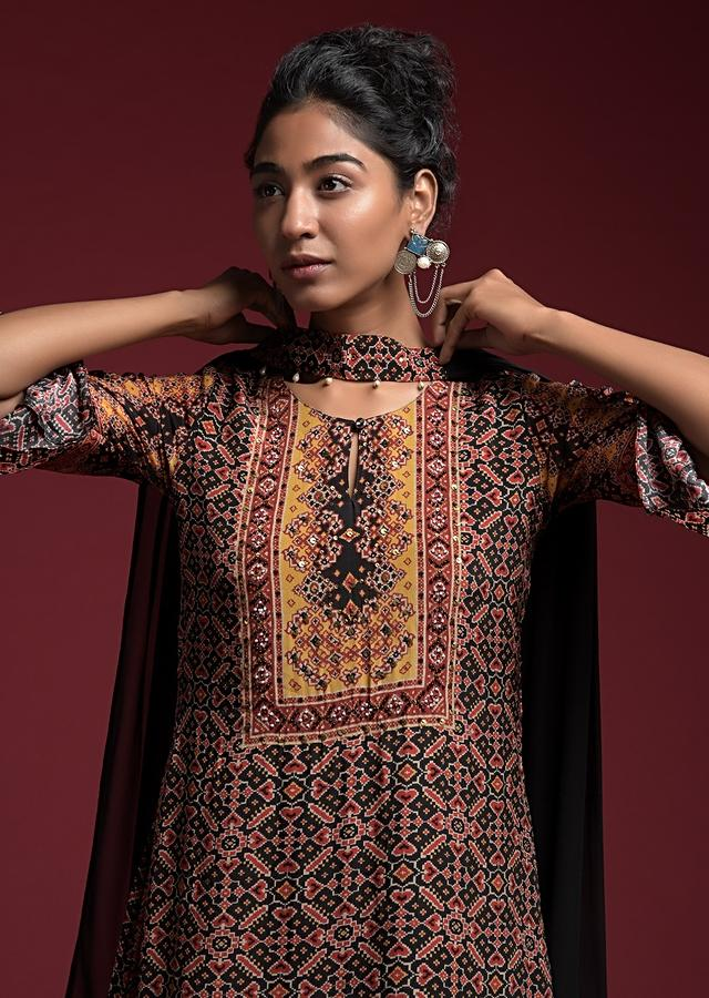 Black Straight Cut Suit In Crepe With Patola Print And Attached Plain Black Underlayer Online - Kalki Fashion