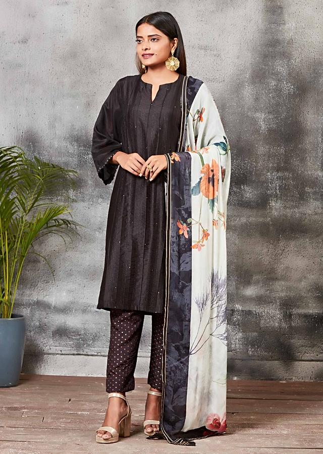 Black Straight Cut Suit With Brocade Silk Pants And Floral Printed Dupatta Online - Kalki Fashion