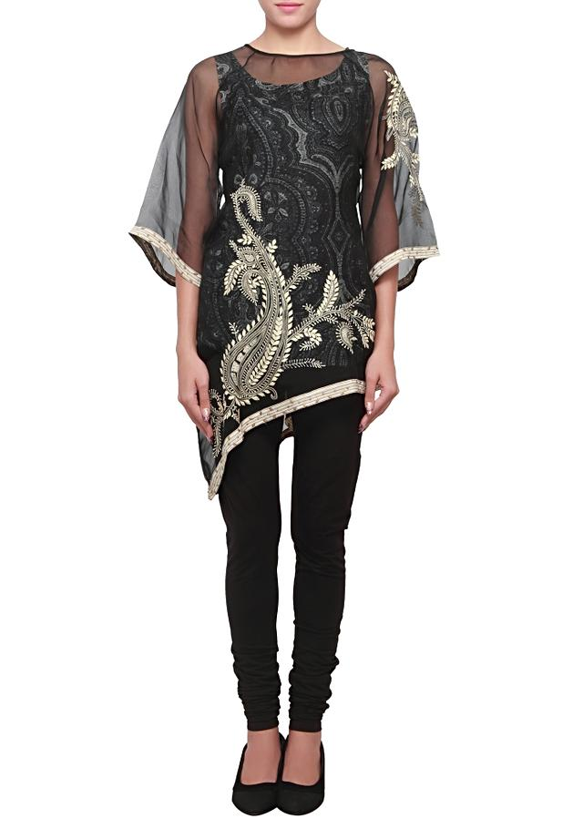 Black tissue kurti embroidered in thread with paisley motif only on kalki