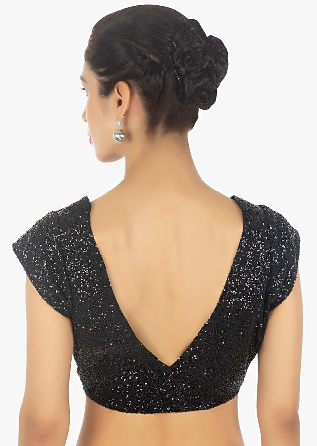 Black Blouse With Sequins Having Cap Sleeves And V Neck Online - Kalki Fashion