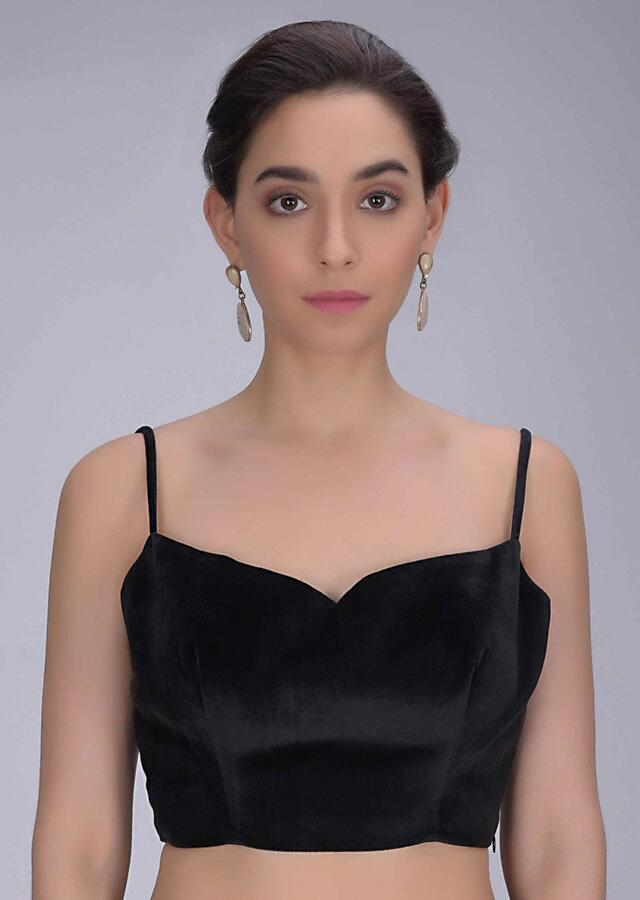Black Single Strap Blouse In Velvet With Fancy Tie Up At The Back Online - Kalki Fashion